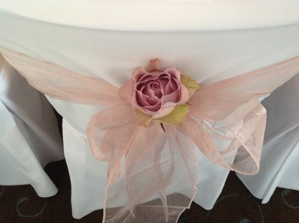 Stunning Antique Rose Organza Sash with Beautiful Memory Lane Rose